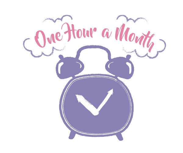Clock illustration with one hour a month text