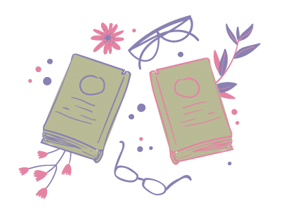 Illustration of two books and other items